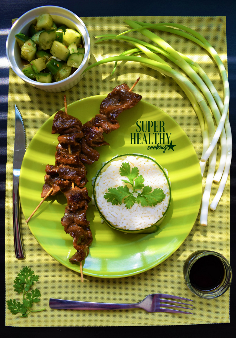 Oriental Beef Skewers - Cucumber Salad - Healthy Meat Dish - Beef - Oyster - Quick - Diet - Nutrition - Cooking - Food - Healthy - Recipe - Low calorie - Low carb - Low fat - High protein